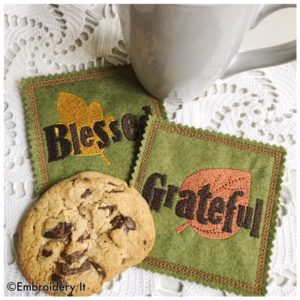 Machine embroidery in the hoop coasters