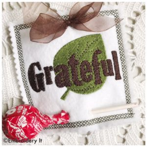 Machine embroidery candy holder grateful