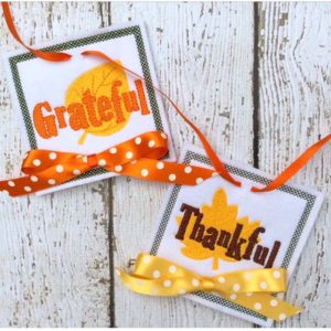 Gratitude bunting in the hoop machine embroidery design