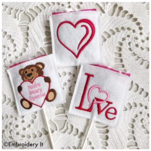 Machine embroidery in the hoop Valentine's day Lollipop Covers