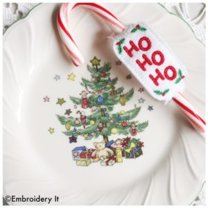Ho ho ho machine embroidery in the hoop candy holder design