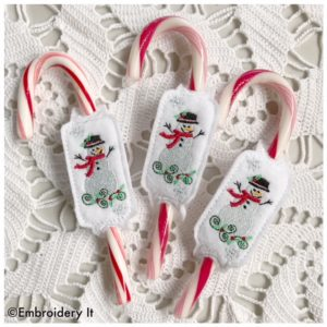 In the hoop machine embroidery Christmas snowman candy design
