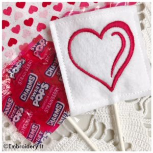 Machine embroidery Valentine's day lollipop covers made in the hoop on felt