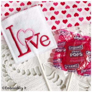 Machine embroidery design in the hoop Valentine's Day lollipop cover pattern