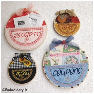 Machine embroidery embroidery hoop pockets