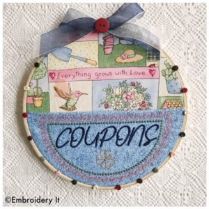 Coupons embroidery hoop pocket
