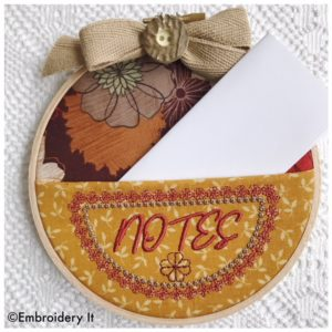 Notes embroidery hoop pocket