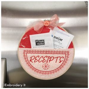 Receipts embroidery hoop pocket