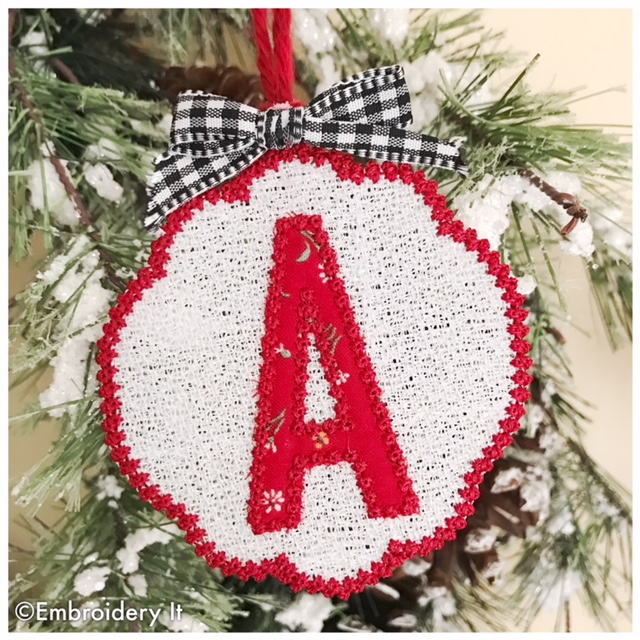 free standing lace and applique alphabet letter a christmas ornament